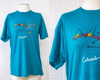 Vintage 80s Lightweight Soft Thin Aqua Cyan Blue Red Yellow Black Colorado Ski Jerzees Brand State Tourist Novelty Shirt T-Shirt Top L