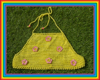 Vintage Y2K 90s Bright Yellow Baby Pastel Pink Festival Crochet Sheer Mesh Beaded 3-D Flower Cotton Crop Halter Top Rave One Size S M L
