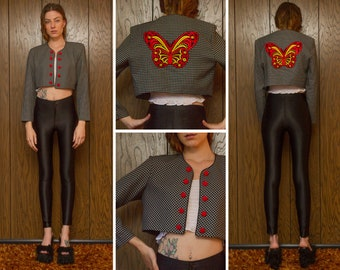 Vintage 90s Black White Checker Geometric Square Red Yellow Embroidered Velvet Butterfly Back Patch Button Shoulder Pad Crop Blazer Jacket M