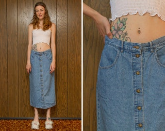 Vintage 90s Eddie Bauer Medium Wash Light Blue Cotton Denim Jean Brown Tan Tortoise Button Front Mid Calf Ankle Skirt M L 12
