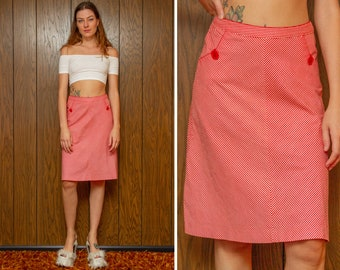 Vintage Y2K Red White Chevron Striped Pocket Button Stripe Stretch Cotton A Line Pencil Knee Length Unlined High Waist Pin Up Skirt S M 26