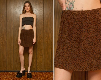 Vintage 90s Y2K Copper Brown Black Corduroy 3-D Ribbed Textured Lightweight Mini A Line High Waist Belt Loops Animal Print Cotton Skirt S M