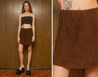 Vintage 90s Ellemenno Brown Black Corduroy 3-D Ribbed Textured Lightweight Mini A Line High Waist Belt Loop Animal Print Cotton Skirt S M