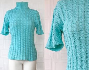 Vintage 90s Y2K Aqua Teal Blue Kathy Ireland Braided Ribbed Textured Half Short Sleeve High Neck Turtleneck Sweater Shirt Blouse Top M L XL