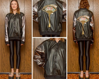 Up-Cycled Black Gunmetal Gray Oversized Geisha Japanese Fan Sequined Appliqué Faux Leather Patch Unlined Shiny Bomber Zip Up Jacket L XL