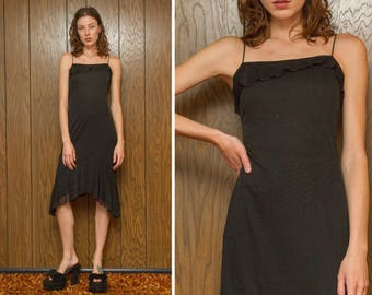 Vintage 90s Black Beaded Stripe Spaghetti Strap Metallic Asymmetrical Fishtail Strappy Layered Lined Lightweight Tiered Ruffle Dress XS S