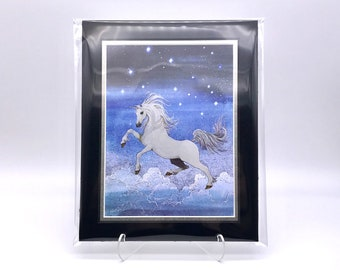Vintage Unicorn Fantasy Night Sky Foil Etching Art Print Shiny Metallic  Black Silver Double Mat Ready to Frame in 8x10 Image 7.5 x 5.5
