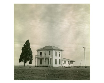Print Only - Abandoned White Farm House Lone Tree Rural Drought California Film Landscape 120mm Rustic Sepia Black White Photograph Square