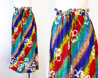 Vintage Rainbow Striped Tropical Luau Floral Print Hibiscus Flower Mid Calf Ankle Length Drawstring Pocket Maxi Lightweight Skirt fits S M L