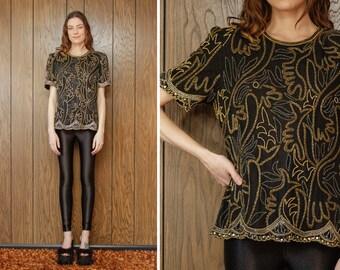 Vintage 80s Laurence Kazar Silk Black Gold Sequined Embroidered Beaded Leaf Flower Pattern Short Sleeve Shoulder Pad Dress Blouse Top XS S M