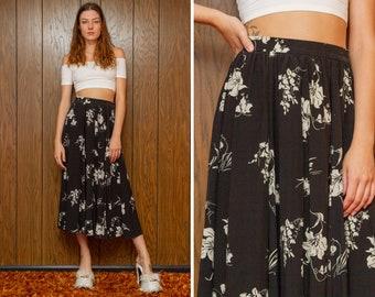 Vintage 80s Black White Silk Ruffled Floral Print Flower High Waist Circle Full Ankle Length Button Zip Single Pocket Pin Up Maxi Skirt S