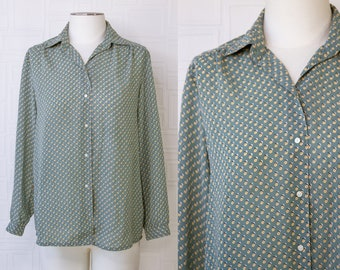 Vintage 90s Mint Sage Green Yellow Red White Black Polka Dot Dotted Shiny Button Collared Long Sleeve Work Blouse Professional Top S M L