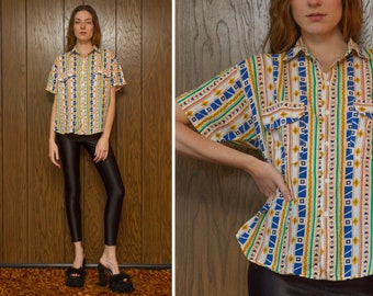 Vintage 80s 90s Fast Traffic Button Down Up Native American Southwestern South West Print Double Pocket Geometric Collar Unisex Shirt Top L