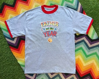 Vintage 90s Unisex Gray Red Dad of the Year Father's Day Dad Ringer Crewneck Heat Transfer Graphic Novelty Cotton Short Sleeve T-Shirt L XL
