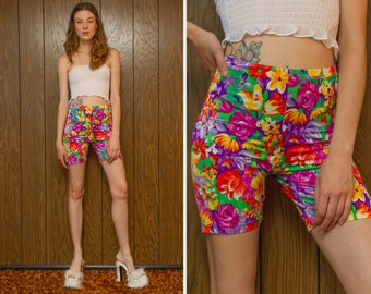 RESERVED Vintage 90s Jantzen Shiny Rainbow High Waist Flower Floral Print Purple Green Yellow Orange Stretch Aerobic Athletic Biker Shorts M