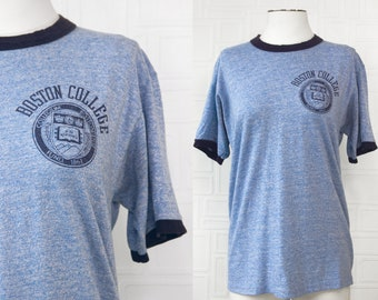 Vintage 80s Heather Blue Navy Ringer Boston College Massachusetts Soft Lightweight School College Logo Graphic Novelty Collegiate T-Shirt