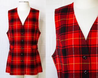 Vintage 70s 80s Pendleton Red Black White Yellow Buffalo Plaid Lined Wool Sleeveless V Neck Shiny Button Front Back Vest Blouse Tunic Top XL