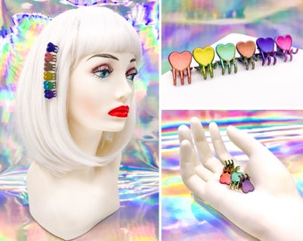 Vintage 90s Y2K Rainbow Iridescent Heart Shape Love Mini Claw Plastic Rave Kawaii Pink Purple Blue Teal Yellow Orange Hair Clips Set of 6