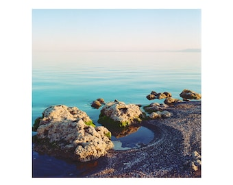 Print Only - Salton Sea Moss Rocks California Film 120mm Sunset Sunrise Water Peaceful Landscape Nature Color Photography Photograph Square