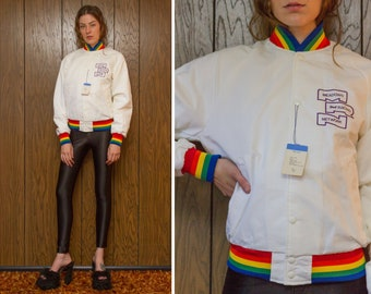Vintage 80s NEW Rainbow Trim White Striped Long Sleeve Meadows Racing Network Snap Button Lined Baseball Athletic Windbreaker Nylon Jacket M