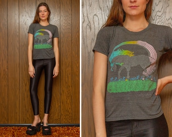 Vintage 80s Unisex Soft Thin Distressed Dark Gray Neon Pastel Unicorn Rainbow Crew Neck Fantasy Cute Short Sleeve T-shirt Shirt fits XS S M