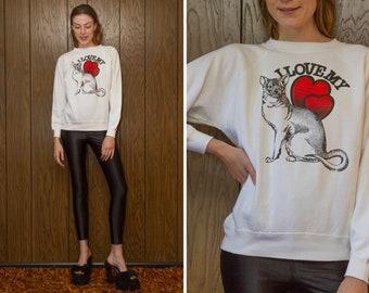 Vintage 90s Novelty Hanes Her Way Raglan I Love My Crazy Cat Lady White Red Black Heart Pussy Graphic Crewneck Long Sleeve Sweatshirt S M