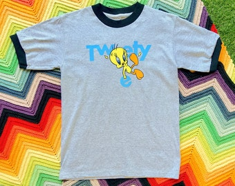 Vintage 90s Unisex Gray Black Tweety Bird Looney Tunes Blue Yellow Ringer Crewneck Heat Transfer Thick Cotton Short Sleeve T-Shirt XS S