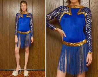 Vintage 80s Royal Blue Gold Zig Zag Sequined Long Sleeve Trim Fringe Skirt Bodysuit Ice Skate Beaded 3 pc. Set Dance Skirted Costume L XL