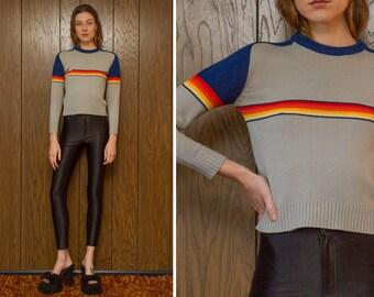 Vintage 70s 80s Joseph Laurin Rainbow Striped Acrylic Gray Navy Blue Color Block Raglan Crewneck Lightweight Long Sleeve Ski Sweater XS S