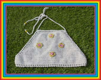 Vintage Deadstock 90s White Pastel Yellow Pink Festival Crochet Sheer Mesh Beaded 3-D Flower Cotton Crop Halter Top One Size fits most S M L