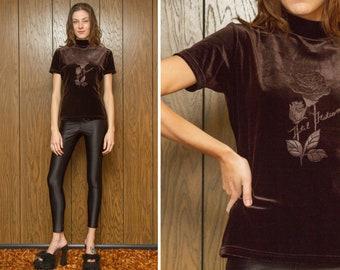 Vintage 90s Dark Espresso Brown Embossed Hotel Brand Rose Flower Velvet Mock Turtleneck High Neck Textured Short Sleeve Shirt Blouse Top S M