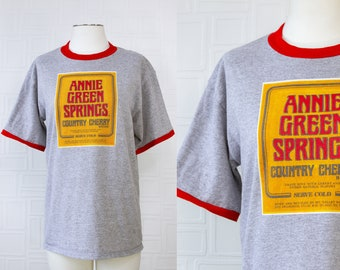 Vintage 90s Y2K Heather Gray Red Ringer Anne Green Springs Wine Spirits San Francisco Yellow Gold Logo Graphic Novelty Tourist T-Shirt L XL