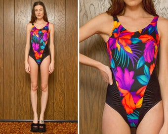 Vintage 90s Black Rainbow Tropical Hibiscus Flower Floral Palm Print High Leg Hi Cut Kawaii Vapor Neon Blue Orange Pink One Piece Swimsuit S