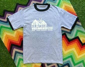 Vintage 90s Unisex Gray Black Glacier Inn 420 Marjuana Ringer Crewneck Heat Transfer Graphic Novelty Thick Cotton Short Sleeve T-Shirt M L