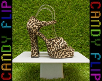 Vintage 90s BNIB NEW Its Martini Time Kitty Velboa Mega Black Velvet Faux Fur Furry Platform Mary Jane Leopard Cheetah High Heel Cat Shoes 6