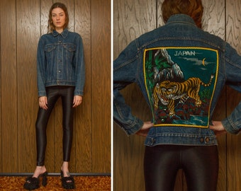Vintage 80s Levi's Red Tab USA Black Yellow Tiger Velvet Painted Japan Japanese Embroidered Back Patch Denim Jean Unlined Button Jacket M L
