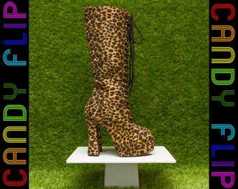 Vintage 90s Classified NEW Lace Up Mega Platform Cheetah Leopard Fuzzy Furry Animal Print Go Go Velboa Chunky Knee High Heel Boots Women's 6