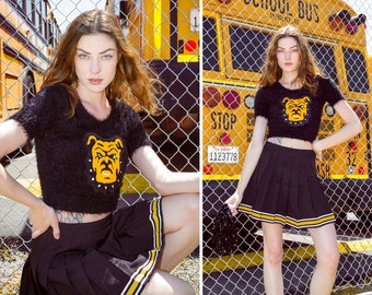 Cheerleader Black Chenille Bulldog Dog Letterman Varsity School Mascot Sequined Gold Yellow Cheer Fuzzy Crop Sweater Costume * Top Only * S