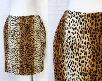 Vintage 90s Y2K Faux Fur Textured Wavy Brown Black Beige Leopard Cheetah Wild Animal Print Soft Above The Knee Lined Pencil Skirt Size 14 XL