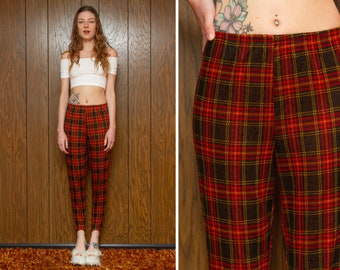 Vintage 90s Lenox Square Red Gold Yellow Dark Brown Tartan Plaid Textured Striped Elastic High Waist Stretch Sturrup Tapered Legging Pants M