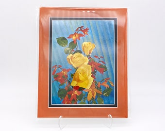Vintage Orange Yellow Rose Wild Flowers Foil Etching Stained Glass Art Print Fabric Black Double Mat Ready to Frame in 8x10 Image 7.5 x 5.5