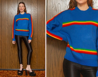 Vintage 70s 80s Classic Bright Light Sky Blue Rainbow Striped Acrylic Multi Stripe Crewneck Thick Heavy Long Sleeve Ski Jumper Sweater S M L