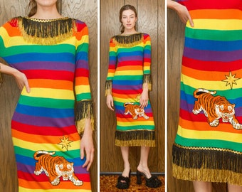 Vintage 70s 80s Avant Garde Rainbow Striped Metallic Gold Black Fringed Silk Tiger Star Embroidered Patch Sweater Jumper Dress Gown fits S M