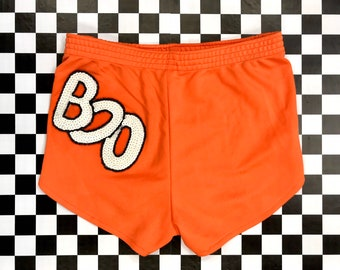 Vintage 80s Orange BOO Black White Sequined Disco Hot Poly Athletic Running Halloween Ghost Sequin Appliqué HOoters Booty Patch Shorts XS S