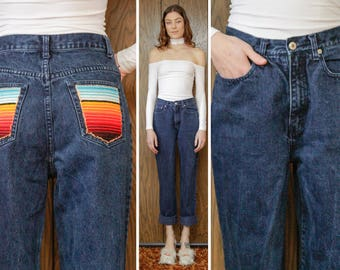 Vintage 90s RARE Limited Jeans Up-cycled Serape Southwest Mexican Rainbow Stripe Back Pocket Patch Handsewn Graphic Dark Blue Denim 8 S M 26