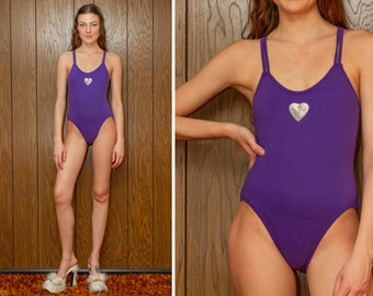 Vintage 90s y2k Purple Strappy Sequined Beaded Silver Love Heart Patch Scoop Neck Sleeveless Cotton Poly Cross Back Leotard Bodysuit XS S