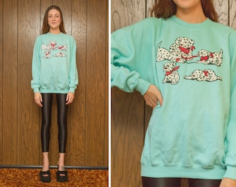 Vintage 80s 90s NEW Dalmatian Dog 101 Dalmatians Mint Green Puppy Animal Black White Red Puffy Screen Print Crew neck Sweatshirt fits M L XL