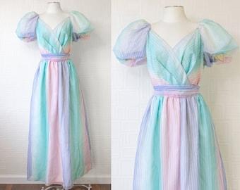 Vintage 80s Pastel Rainbow JC Penny ILGWU USA Striped Ruffle Puff Short Sleeve Full Length Princess Unicorn Bow Shash Dress Plus Size 20