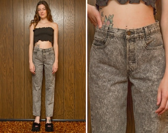 Vintage 70s 80s Levi's XX Red Tab Ash Gray Acid Wash Speckled Black Relaxed Button Fly Straight Leg Boyfriend High Waist Denim Jean 28 x 32