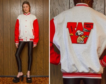 Vintage 90s Snoopy Peanuts Gray Red Varsity Striped Letterman Sweatshirt Baseball Chenille Felt Back Patch Snap Button Lined Jacket Coat L